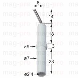 Electrod de aprindere, ø 7 x 9 mm, lungime 58 mm, conexiune ø 2,4 mm - 100707