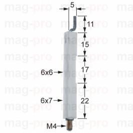 Electrod de aprindere, ø 6 / 7 mm, filet M4 - 100708