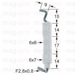 Electrod de aprindere ø 6/7 mm, conector 2,8 x 0,8 mm - 100736
