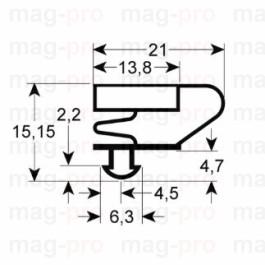 Garnitur frigo, profil 9704, L 400 x 185 mm, masurat intre santuri - 9704185400